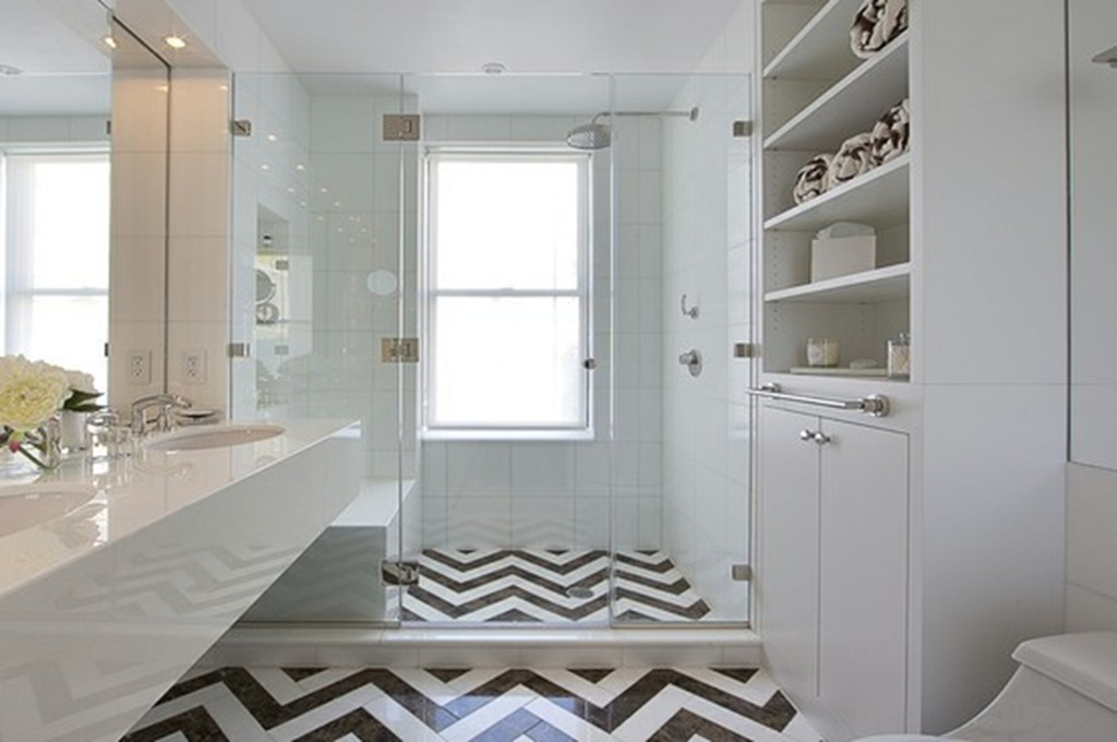 chevron tile bathroom black white shower modern glamorous luxury